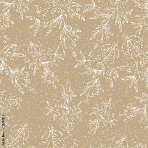 Cotton fabric Mistletoe seamless pattern