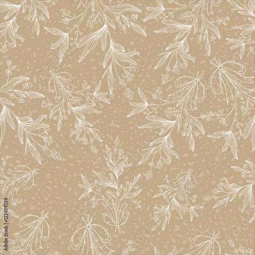 Cotton fabric Mistletoe seamless pattern