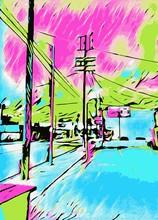 Zeichnung und blaue Stadt mit rosa und grünen Himmel Malerei