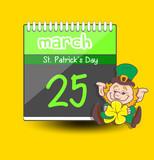 Patrick's Day Leprechaun - Calendar Vector