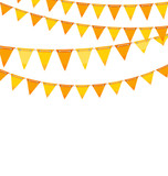 Autumn Holiday Background with Orange and Yellow Bunting Flags