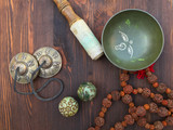Tibetan singing bowl and objects for religious ritual