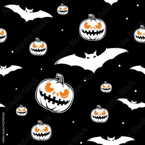 Cotton fabric Vector illustration of halloween celebration seamless pattern
