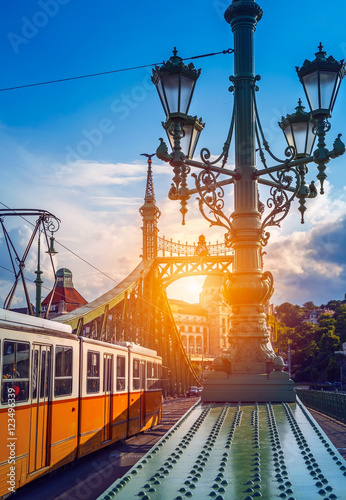 Old tram at bridge freedom sunshine Budapest