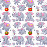 Seamless background with gray elephants