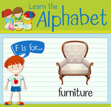 Flashcard letter F is for furniture