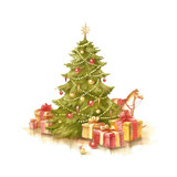 Christmas tree and presents. Hand draw watercolor illustration. - 123503135