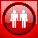 couple red icon plastic glossy button