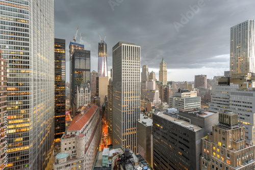 Aerial View of Downtown Manhattan плакат