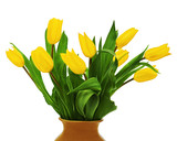 Flower bouquet from  yellow tulips in brown vase isolated on white background.
