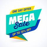 Mega Sale banner. One day special offer, big sale.