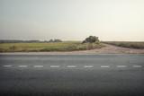 asphalt road through the green field - 123517395