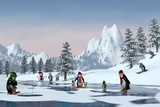 Penguins in a snowy mountain landscape, 3d render