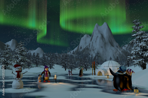 Obraz Penguins under northern lights in a winter landscape, 3d render