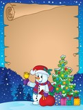 Parchment with Christmas snowman theme 1