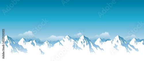 Vector illustration of snowy Himalaya mountains
