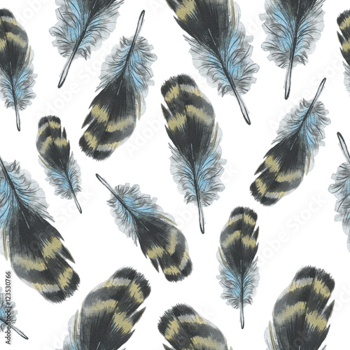 Watercolor bird feather pattern from wing isolated. Aquarelle feather for background, texture, wrapper pattern, frame or border. - 123530766