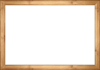 empty wooden retro picture or blackboard frame with bamboo wood isolated on white background / Holzrahmen Bambus isoliert auf weißem Hintergrund