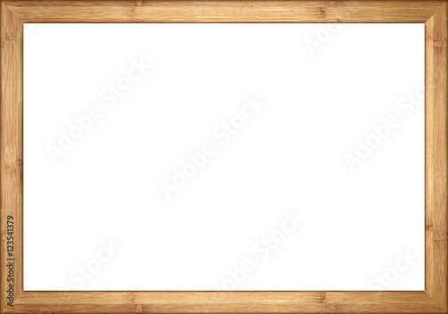 Fotobehang Bamboe empty wooden retro picture or blackboard frame with bamboo wood isolated on white background / Holzrahmen Bambus isoliert auf weißem Hintergrund