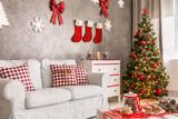 Modern room with christmas tree