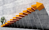 Steps to move forward to next level, success concept, orange staircase with arrow sign and concrete wall in exterior scene - 123560516