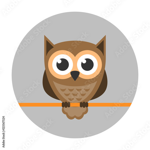 Foto op Aluminium Uilen cartoon Owl icon flat