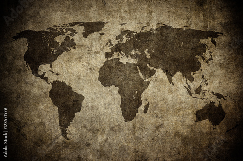 Poster grunge map of the world