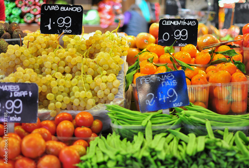 Vegetables and fruits on Boqueria market