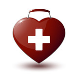 red medical bag in the form of heart