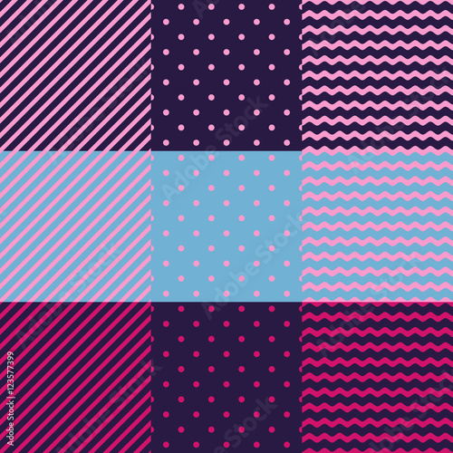 Vector seamless pattern. Set of geometric backgrounds.