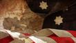 Usa Flag Waves On Wood. Stars Stripes and Chart