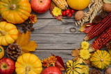 Fall background with pumpkins, top view, copy space