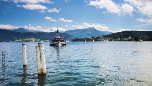 Fotobehang Schip Paddle steamer