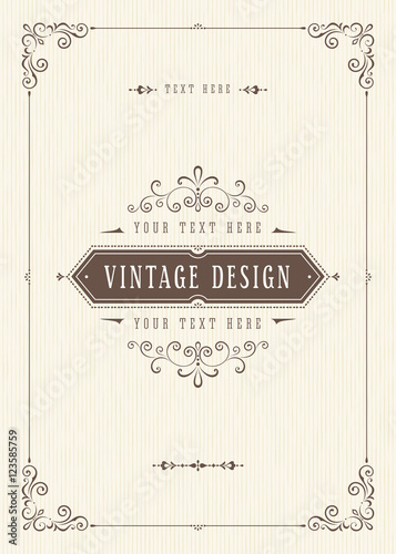 Ornate vintage card design with ornamental flourishes frame. - 123585759