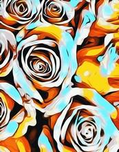 blau, orange, weiß und gelb Rosen Textur abstrakten Hintergrund