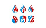 Flame and Water Flat Logo Vector