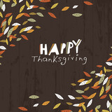 Happy Thanksgiving logotype. Leaf Cut Letters. For holiday greet