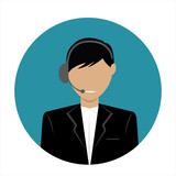 male call center avatar icon with a faceless face wearing headsets