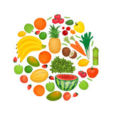 Circle of fruits and vegetables icons. Healthy organic food. Natural source of vitamins. Raw and fresh ingredients for vegetarian dishes vector illustration. For farm, grocery store ad, diet concept