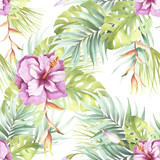 Seamless pattern with tropical flowers. Watercolor illustration. - 123607543