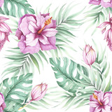Seamless pattern with tropical flowers. Watercolor illustration. - 123607547
