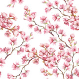 Seamless pattern with cherry blossoms. Watercolor illustration. - 123607598
