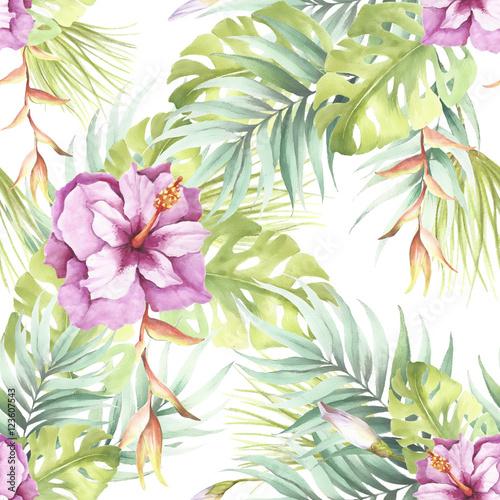 Stoffe zum Nähen Nahtlose Muster mit tropischen Blumen. Aquarell Bild.