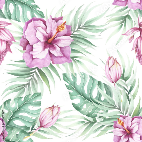 Cotton fabric Seamless pattern with tropical flowers. Watercolor illustration.