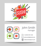 Japanese sushi bar business card vector template