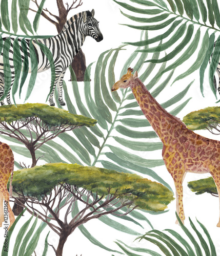 Watercolor painting african pattern with Giraffe , zebra and Large Acacia tree - 123612162