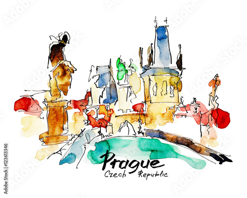 In de dag Art Studio watercolor freehand sketch drawing of Prague Czech Republic top
