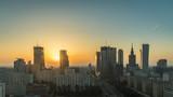 Fototapety Warsaw Downtown Sunrise aerial view, Poland