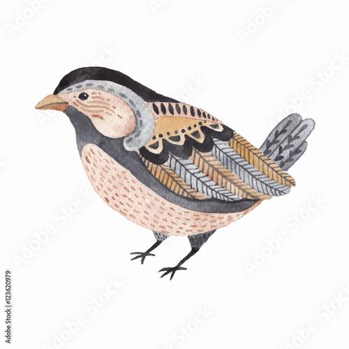 Watercolor cute little bird. - 123620979