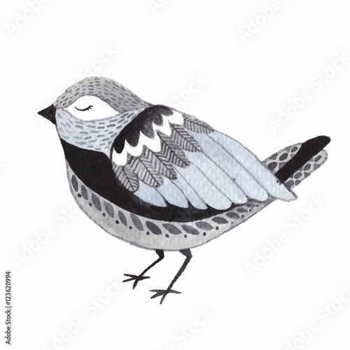 Watercolor cute little bird. - 123620994